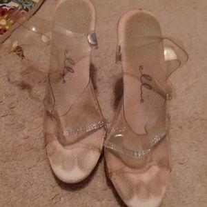 Well worn clear heels